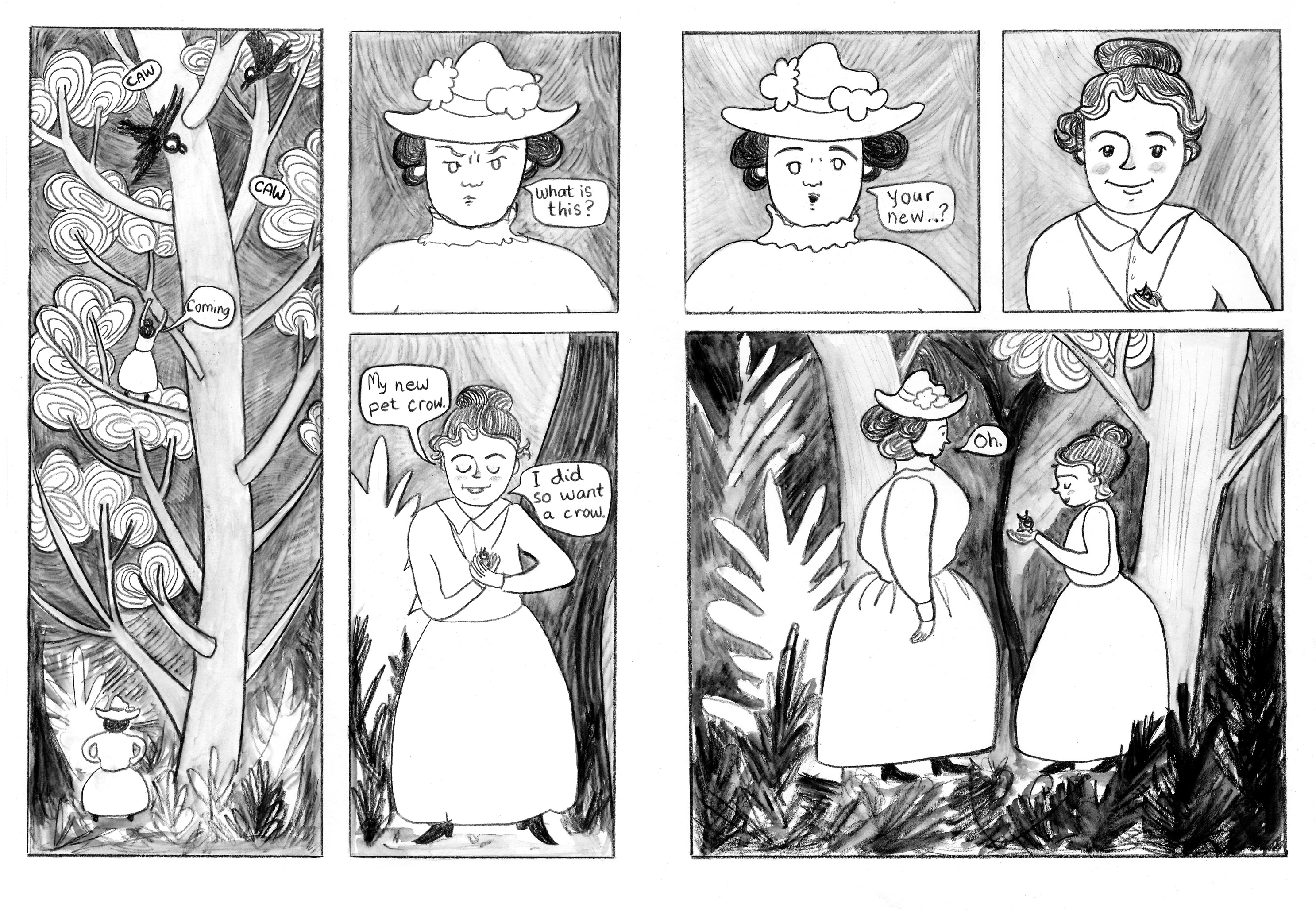 page spread from Emily's Birds